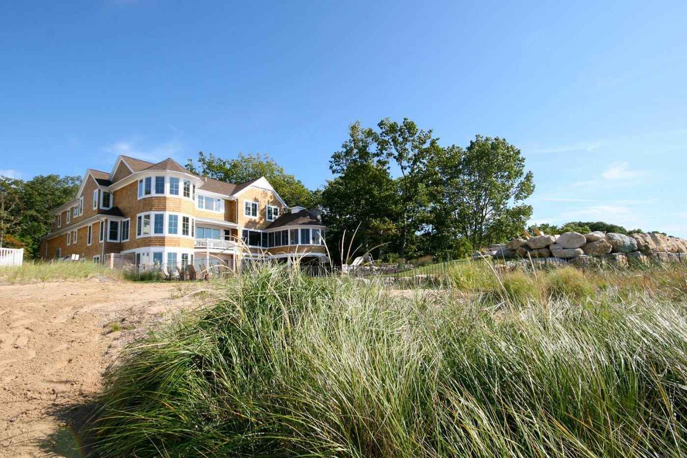 Custom beach house exteriors lakefront homes gallery of for Custom beach house